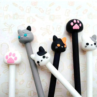 Cat and Paw Pens, Gel Style, 0.5mm Writing, Black, White, Gray, Stationary, School Supplies