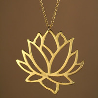 Lotus necklace - gold lotus flower necklace - blooming flower - lotus -  a 22k gold overlay lotus flower on a 14k gold filled chain