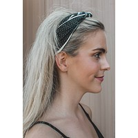 Stripes & Dots Satin Headband, Navy Multi
