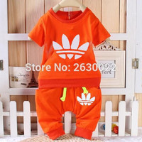 2017 Brand Summer Pattern Kids Clothes Sets Baby Boy Clothes T-shirt + Medium Pants Newborn Sport Suits Baby Set