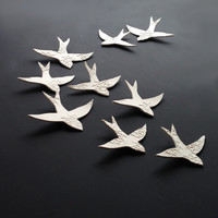 Porcelain wall art Swallows over Morocco Gold birds Wall sculpture Ceramic wall art for bathroom Bedroom Living room Kitchen decor set of 5