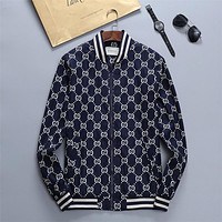 GUCCI GG Mens and Womens Double G Printed Letter Zip Jacket