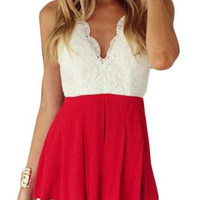 Red and White Lace Racer Back Rompers