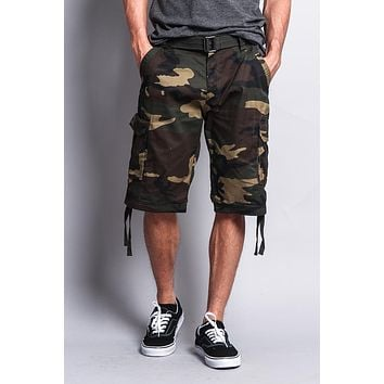 Camo Ripstop Belted Cargo Shorts