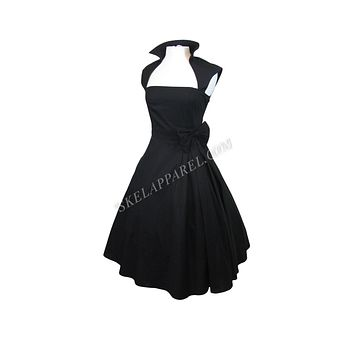50's Vintage Style Black Bow Belted Swing Skirt Party Dress
