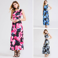 Summer Women Floral Printed Floral Printed Sleeveless One Piece Dress _ 11747