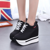 Height Increasing Platform Shoes Women Casual Hidden Wedge Shoes for Women Shoes Platform Fashion Black Casual Women Shoes