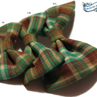 Plaid Dog Bow Tie, Cat, Kitten, Puppy - Mint, Brown, Green - Collar Accessories, Hipster, Preppy, Pet Bow Tie