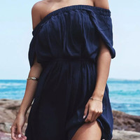 Navy Pleated Strapless Off-Shoulder Mini Dress