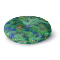 """Miranda Mol """"Dreamy Clouds"""" Green Teal Abstract Fantasy Watercolor Painting Round Floor Pillow"""