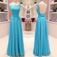 Backless Blue Lace Chiffong Prom Dresses