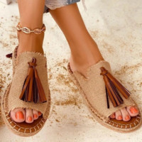 Hot style hot selling comfortable low heel fringed cool slippers