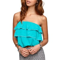 LA Hearts Strapless Tiered Bubble Top - Womens Shirts - Green - Small