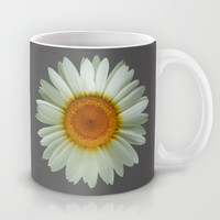 White Daisy on Grey Mug by Paul Stickland for StrangeStore