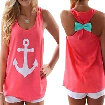 FUNOC Womens Summer Vest Top Sleeveless Blouse Casual Tank Tops T Shirt