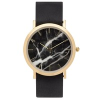 Classic Black Marble Leather Strap Watch