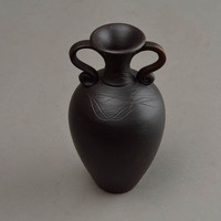 Handmade ceramic vase black decorative vase 100 ml gift idea for housewarming
