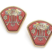 Vintage Hermes red cloisonne golden earrings with beige and yellow flower and harp design in black. Fan shape. Great gift idea