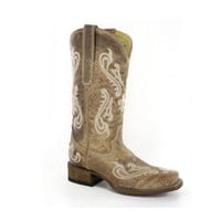 Corral Brown Cortez Cleff Embroidered Square Toe Boots R1976