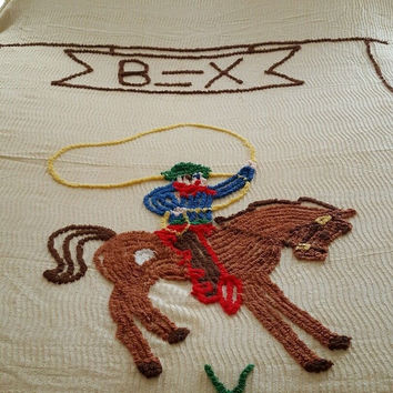 Vintage Western Cowboy Chenille Bedspread Blanket Quilt Full or Queen