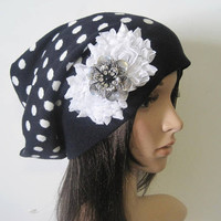Adorable Navy and White Polka Dot  Recycled Sweater Slouch Beanie With White Chiffon Flowers and Silver Rhinestone Accent Winter Hats