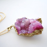 Crystal Druzy Necklace - Gold Dipped - Mineral Jewelry - Pink Necklace -