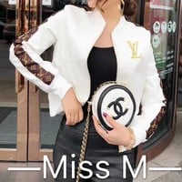 """Louis Vuitton"" Women Fashion Letter Logo PU Skin Short Section  Cardigan Zip Jacket Long Sleeve Coat"