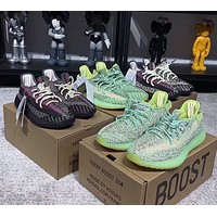 Hipgirls ADIDAS Yeezy Boost 350 V2 Couple Starry Luminous Casual Sneakers Black
