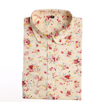 Brand Floral Blouses Cotton Shirts Women Vintage Turn-Down Collar Tops