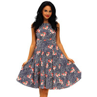 Retro Vintage Floral Printed Sexy Floral Printed High Waisted Round Necked Sleeveless Erotic One Piece Dress _ 12593