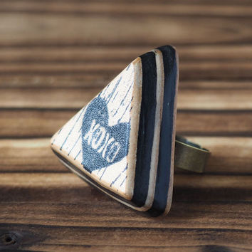 XOXO Hugs and Kisses Leather Ring #Black