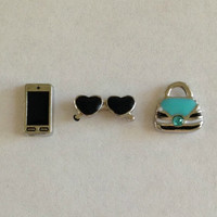Floating charms for living memory lockets - Iphone or smart phone, heart sunglasses, teal purse