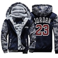 2019 New Streetwear Vintage Fashion Coat Fleece Thick Hoody Jordan 23 Printed Winter Sweatshirts Raglan Mens Camouflage Sportswear