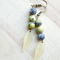 Long Leaf Earrings Yellow and Gray Stone Dangle Earrings Nature Inspired Earrings Pale Yellow Leaves -