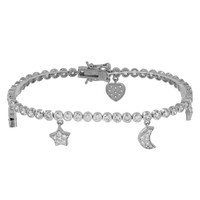 Stars Moon Heart Pandora Style Ladies Bracelet White Gold Finish