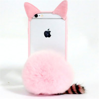 DIY 3D Gril Cute Pussy Plush Cat Ear Mouse Soft TPU+Plastic Case For Iphone 4S 5S 6 6S 7 Plus+Furry Ball Cover Coque Fundas Capa