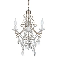 4 Light Antique Crystal Plug-In Chandelier (Silver)