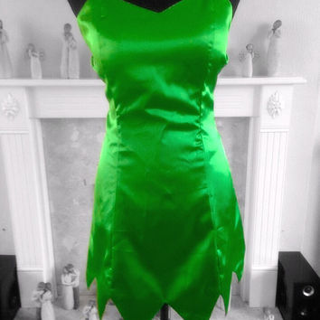 TINKERBELL Inspired Dress With Removable Clear Straps Princess Tink Pixie Peter Pan