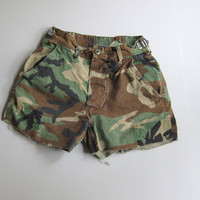 "Vintage Camo Cut Off Shorts Boyfriend Camouflage Military Small 25"" 24"" 23"""