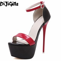 red white Women high heel sandals gladiator party clubwear ankle strap patent leather concise ultra very high heel fetish shoes