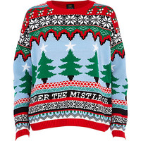 River Island Womens Red under the mistletoe fair isle sweater