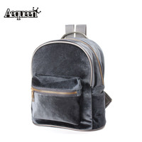 Women backpack Fashion Backpack Velvet Backpacks for Teenage Girls Casual Solid Girls Mochila Zipper Small Bags 2016
