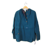 vintage pullover windbreaker Blue COLUMBIA Sporty Slouchy athletic wear Preppy Pullover Jacket. Drawstring and Hood women's Size Large
