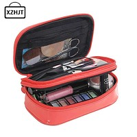 Functional Travel Cosmetic Bag Women Double Layer Zipper Makeup Case Animal Make Up Bags Organizer Storage Pouch Toiletry Bag