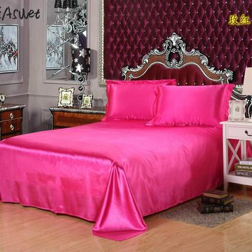 2017 Luxury silk bedsheet bed sheet cover bed sheets Solid Flat  color double satin bedding full queen king no pillow covers
