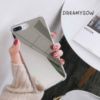 Luxury Mirror Phone Cases For iPhone 8 7 Plus X Anti-knock Case For iphone X 6 6S 7 8 Plus COOL Girl TPU+PC Back Cover Protector