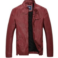 King Ma Mens Faux Leather Jacket with Slim Fit