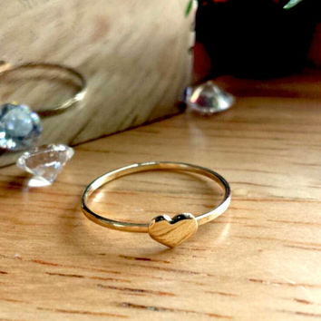 Solid 14kt yellow gold heart ring, 14kt rose gold heart ring, 14kt white gold heart ring skinny thin gold ring stackable band stacking ring