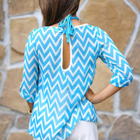 Fits And Squiggles Top: Blue/Ivory | Hope's