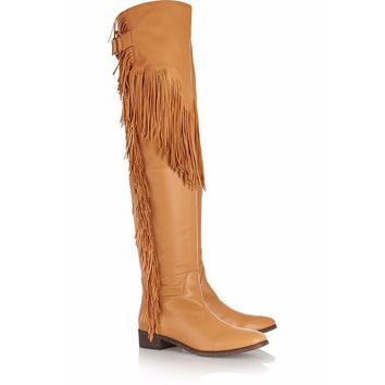 Tassels Belt Buckle Low Chunky Heel Round Toe Over the Knee Length Boots